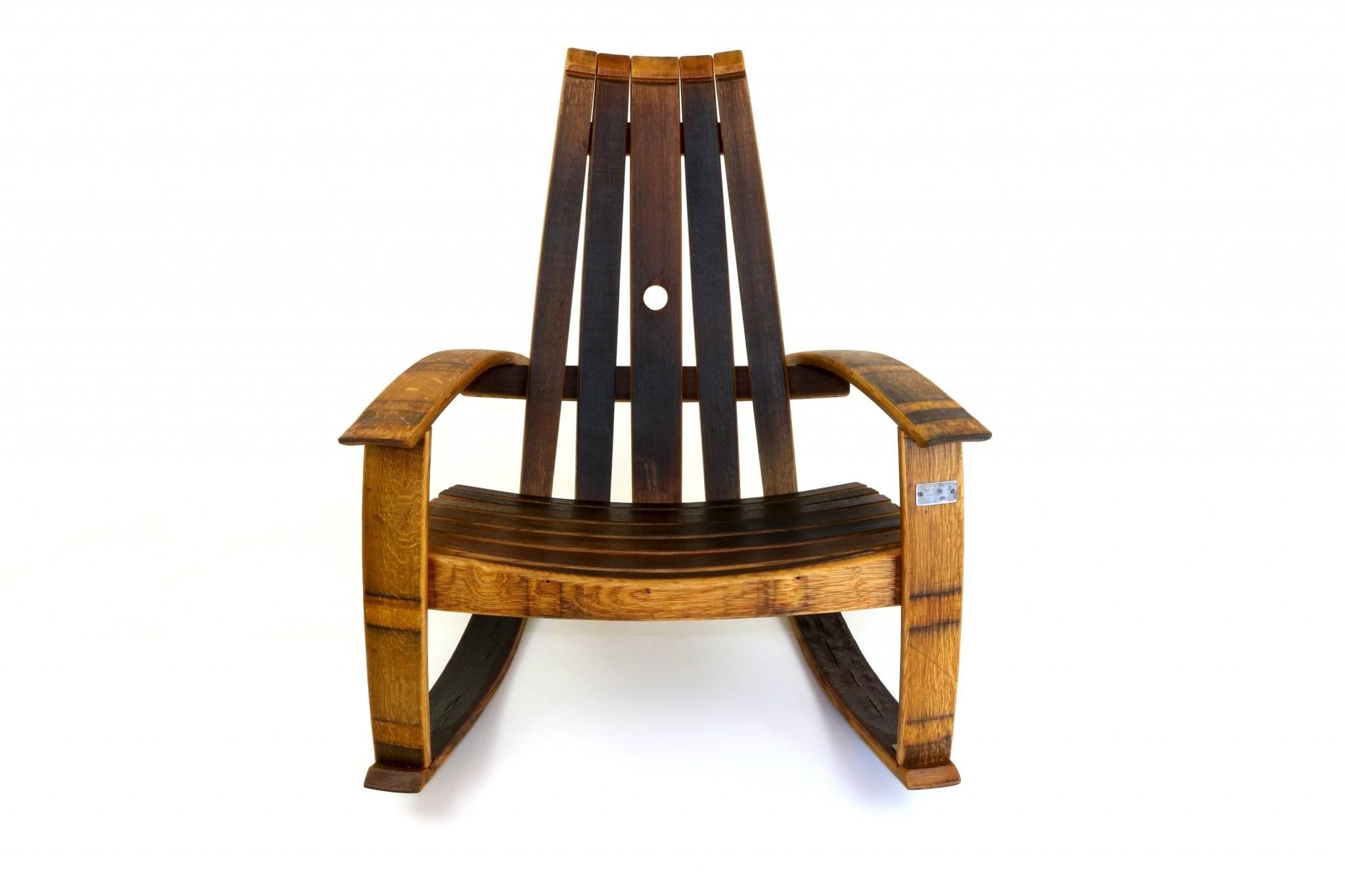 Wine barrel rocking chair -  Recurved Wine Barrel Rocker