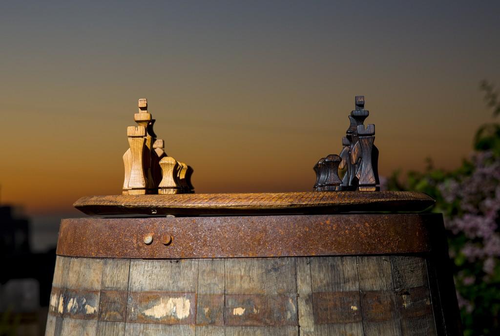 Bourbon Barrel Chess Set Hungarian Workshop