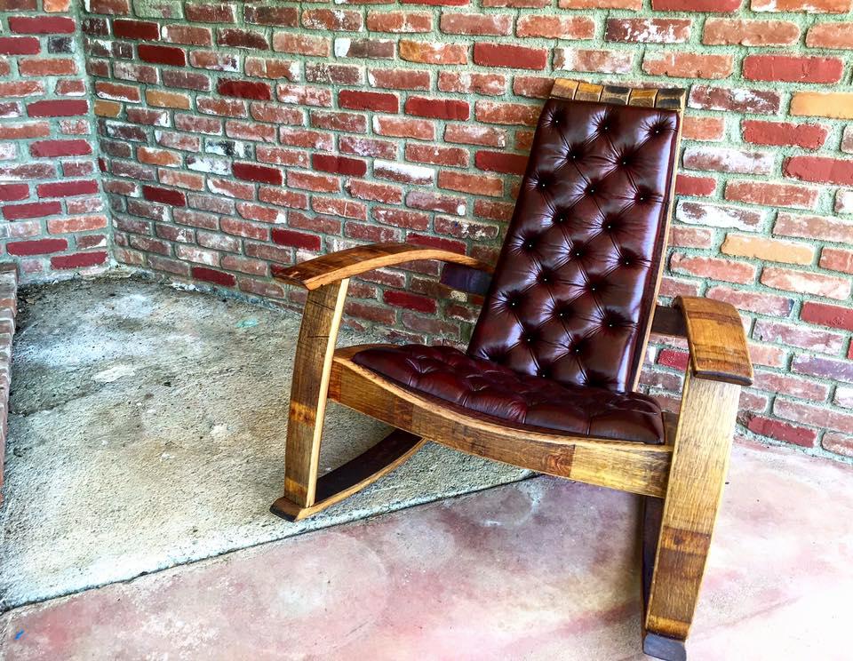 Wine barrel rocking chair with italian merlot leather