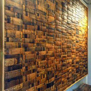 Wine Barrel Wall Paneling w/ Oak Boarder