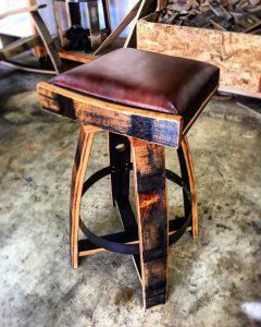 Bourbon Barrel Bar Stools w/ Italian Leather