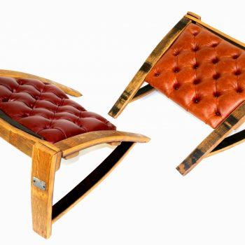 Wine & Bourbon Leather Ottomans