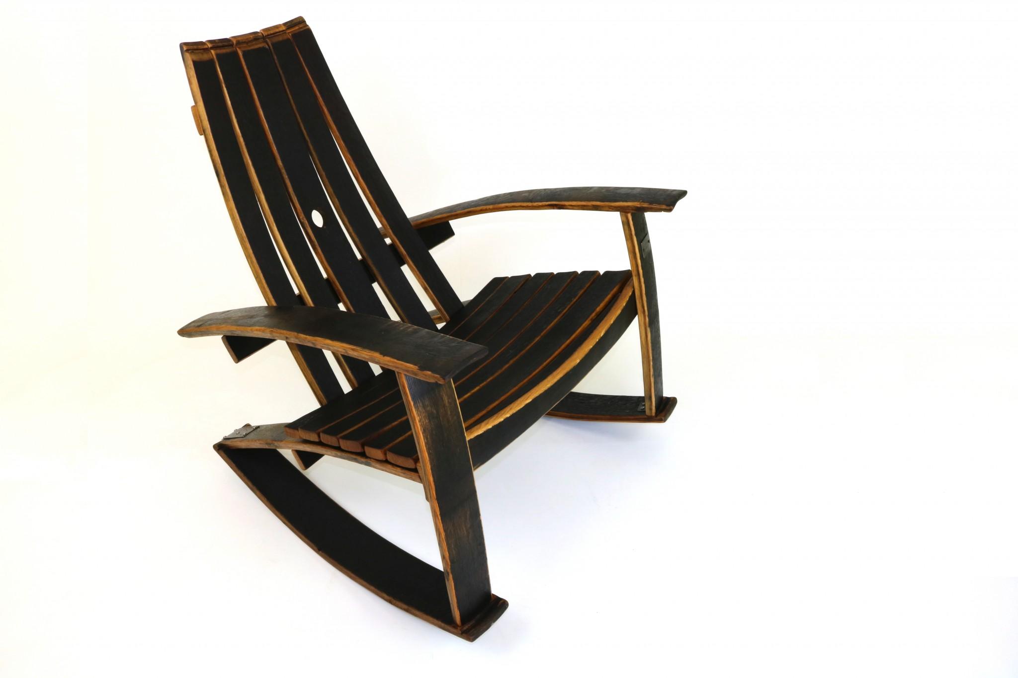 Wine barrel rocking chair -  Recurved Bourbon Barrel Rocker